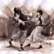 Ng Mui in martial arts pose defending herself against a male attacker